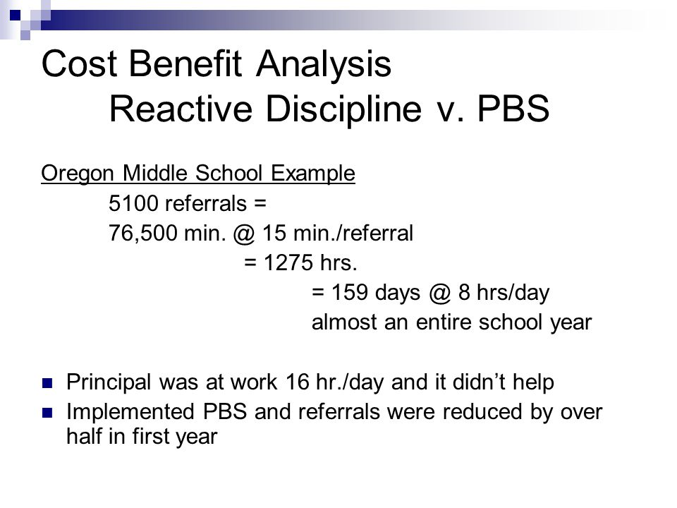 Cost Benefit Analysis Reactive Discipline v.