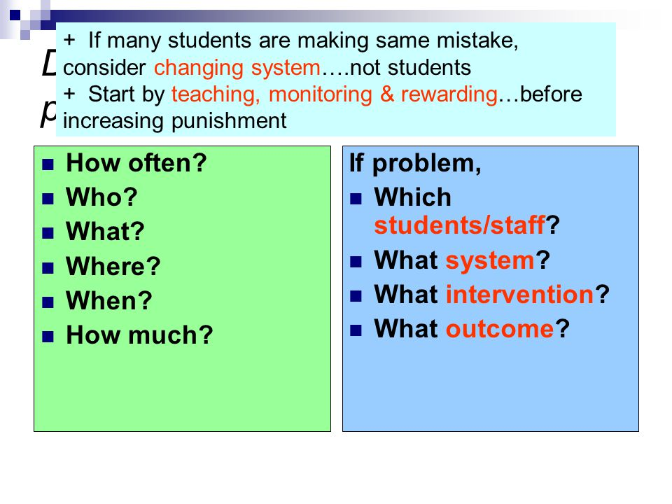 Do we need to tweak our action plan? How often? Who? What? Where? When? How much? If problem, Which students/staff? What system? What intervention? Wh