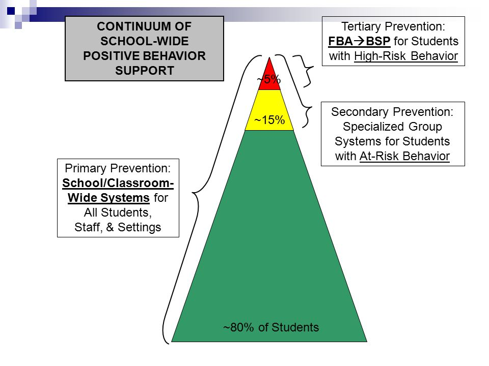 Primary Prevention: School/Classroom- Wide Systems for All Students, Staff, & Settings Secondary Prevention: Specialized Group Systems for Students with At-Risk Behavior Tertiary Prevention: FBA  BSP for Students with High-Risk Behavior ~80% of Students ~15% ~5% CONTINUUM OF SCHOOL-WIDE POSITIVE BEHAVIOR SUPPORT