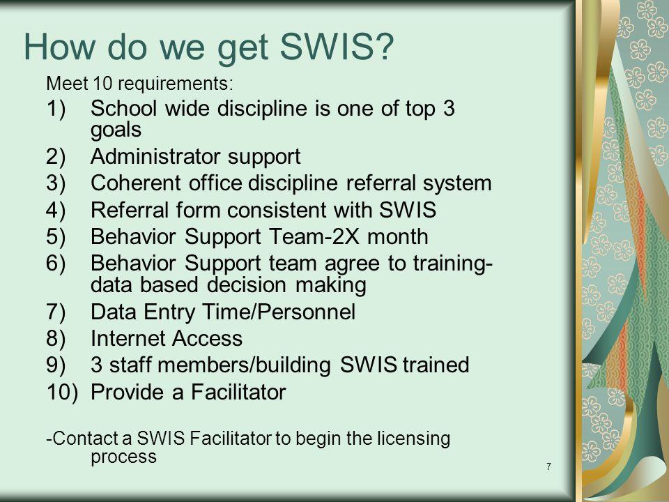 7 How do we get SWIS? Meet 10 requirements: 1)School wide discipline is one of top 3 goals 2)Administrator support 3)Coherent office discipline referr
