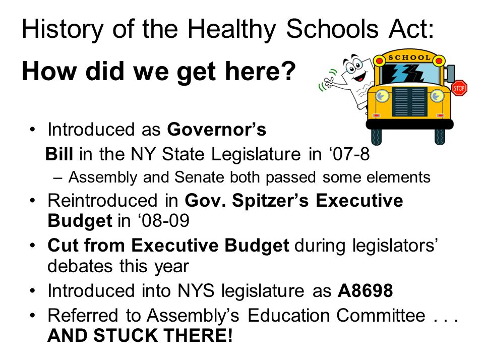History of the Healthy Schools Act: How did we get here.