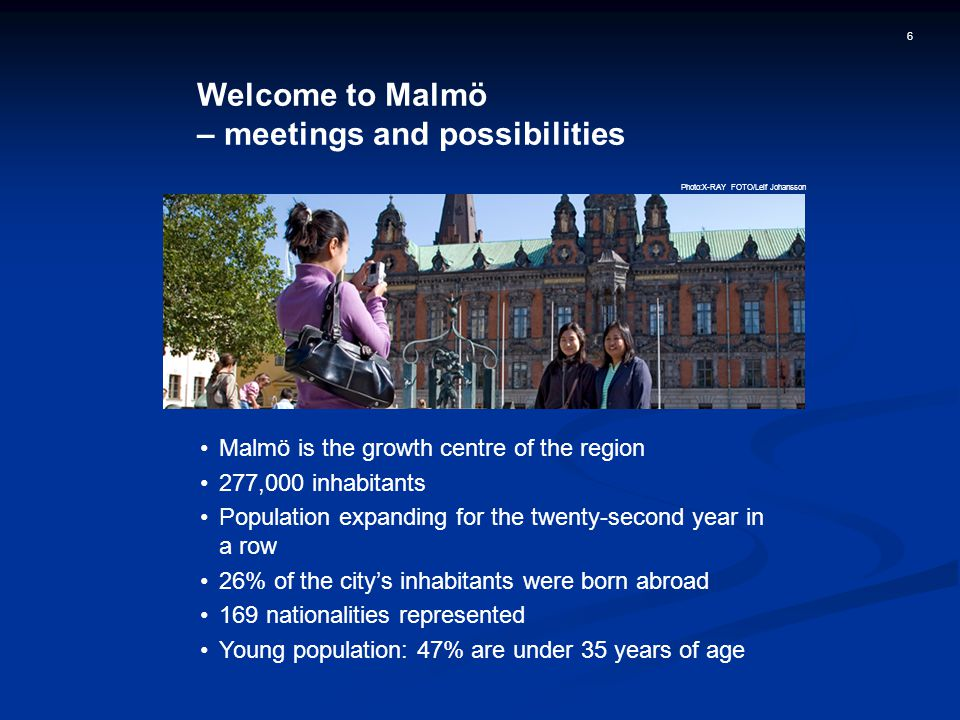 6 Welcome to Malmö – meetings and possibilities Malmö is the growth centre of the region 277,000 inhabitants Population expanding for the twenty-second year in a row 26% of the city's inhabitants were born abroad 169 nationalities represented Young population: 47% are under 35 years of age Photo:X-RAY FOTO/Leif Johansson