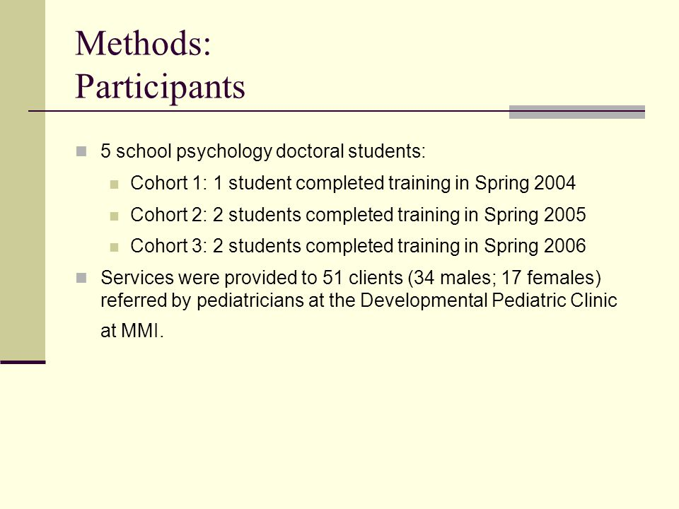 Methods: Participants 5 school psychology doctoral students: Cohort 1: 1 student completed training in Spring 2004 Cohort 2: 2 students completed training in Spring 2005 Cohort 3: 2 students completed training in Spring 2006 Services were provided to 51 clients (34 males; 17 females) referred by pediatricians at the Developmental Pediatric Clinic at MMI.