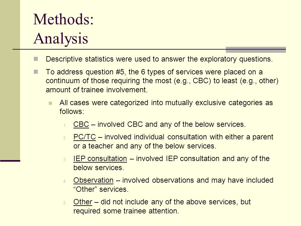 Methods: Analysis Descriptive statistics were used to answer the exploratory questions.
