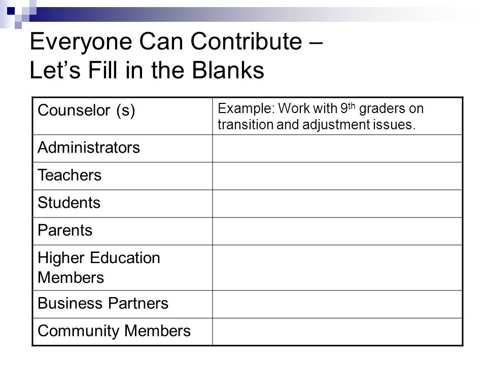 Everyone Can Contribute – Let's Fill in the Blanks Counselor (s) Example: Work with 9 th graders on transition and adjustment issues.