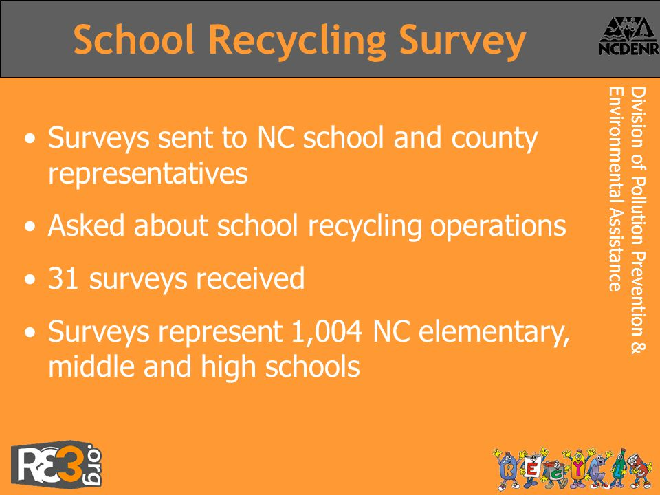 Division of Pollution Prevention &Environmental Assistance School Recycling Survey Surveys sent to NC school and county representatives Asked about school recycling operations 31 surveys received Surveys represent 1,004 NC elementary, middle and high schools