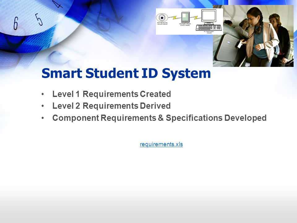 Smart Student ID System Level 1 Requirements Created Level 2 Requirements Derived Component Requirements & Specifications Developed requirements.xls
