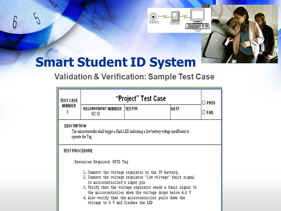 Smart Student ID System Validation & Verification: Sample Test Case
