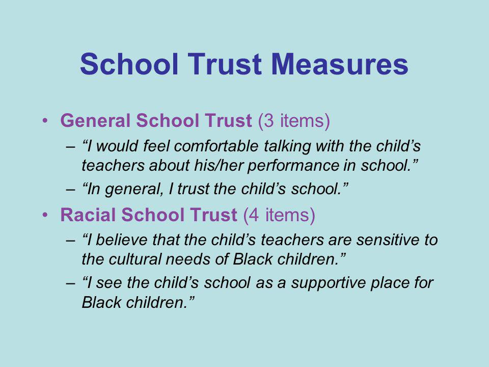 "School Trust Measures General School Trust (3 items) –""I would feel comfortable talking with the child's teachers about his/her performance in school."