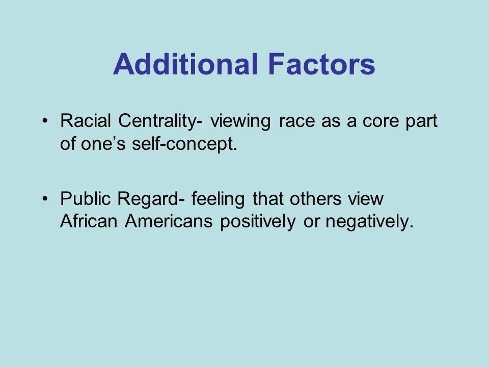Additional Factors Racial Centrality- viewing race as a core part of one's self-concept. Public Regard- feeling that others view African Americans pos