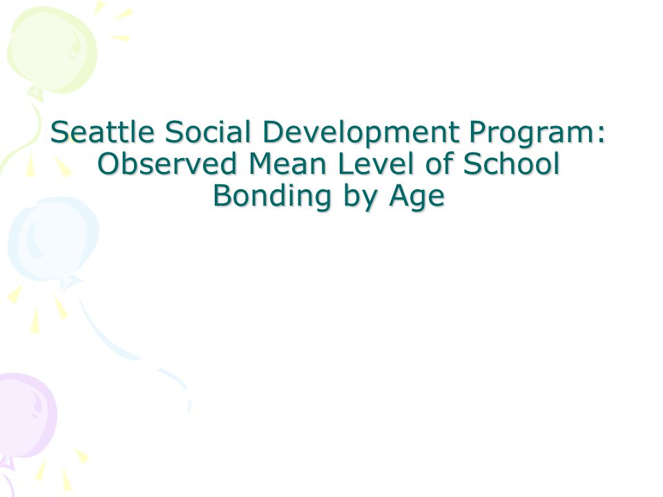 Seattle Social Development Program: Observed Mean Level of School Bonding by Age