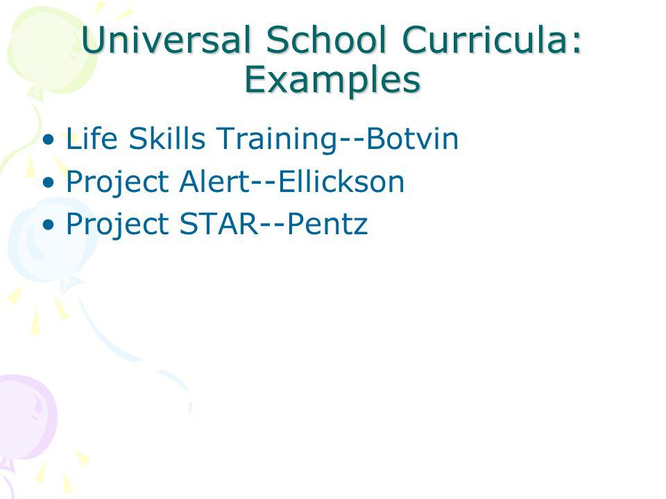 Universal School Curricula: Examples Life Skills Training--Botvin Project Alert--Ellickson Project STAR--Pentz