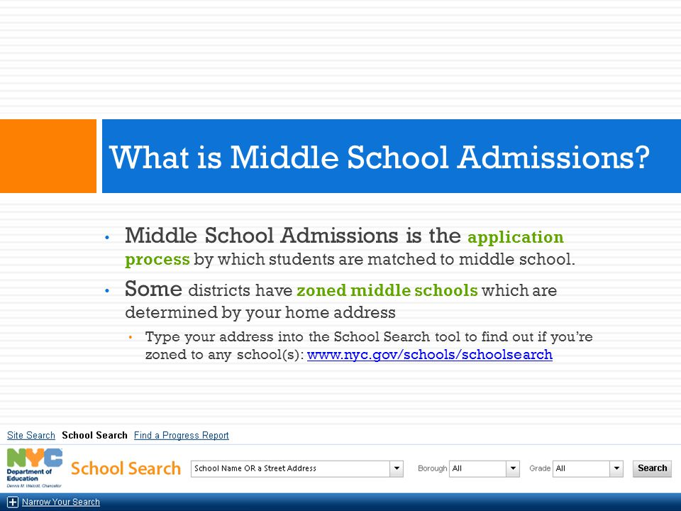 Every 5 th grade student attending a New York City public elementary school 6 th graders in elementary schools that end in grade 6 may apply as well Who Can Apply to NYC Public Middle Schools?