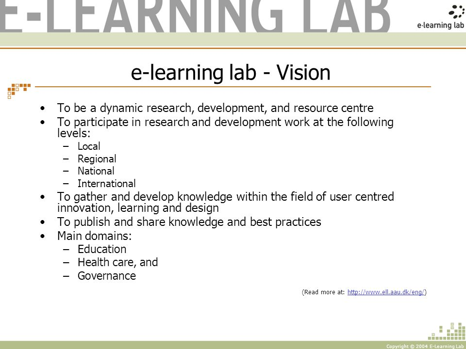 Copyright © 2004 E-Learning Lab Staff and ressources Head of research (Prof.
