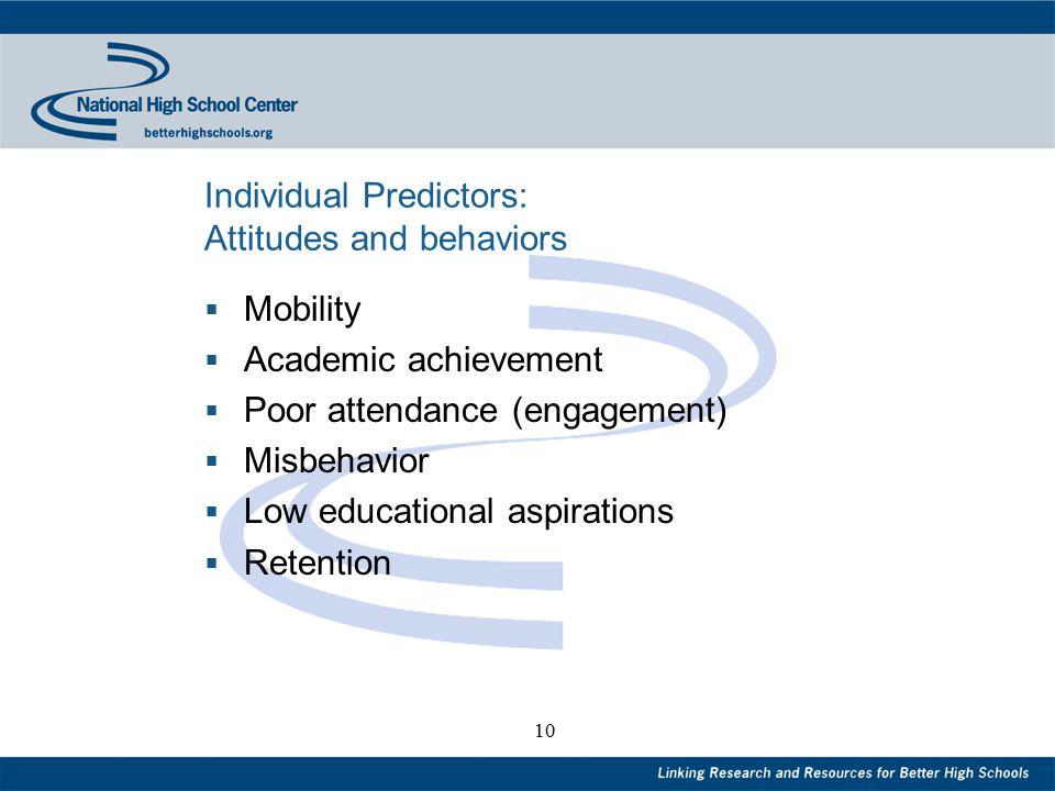 10 Individual Predictors: Attitudes and behaviors  Mobility  Academic achievement  Poor attendance (engagement)  Misbehavior  Low educational asp
