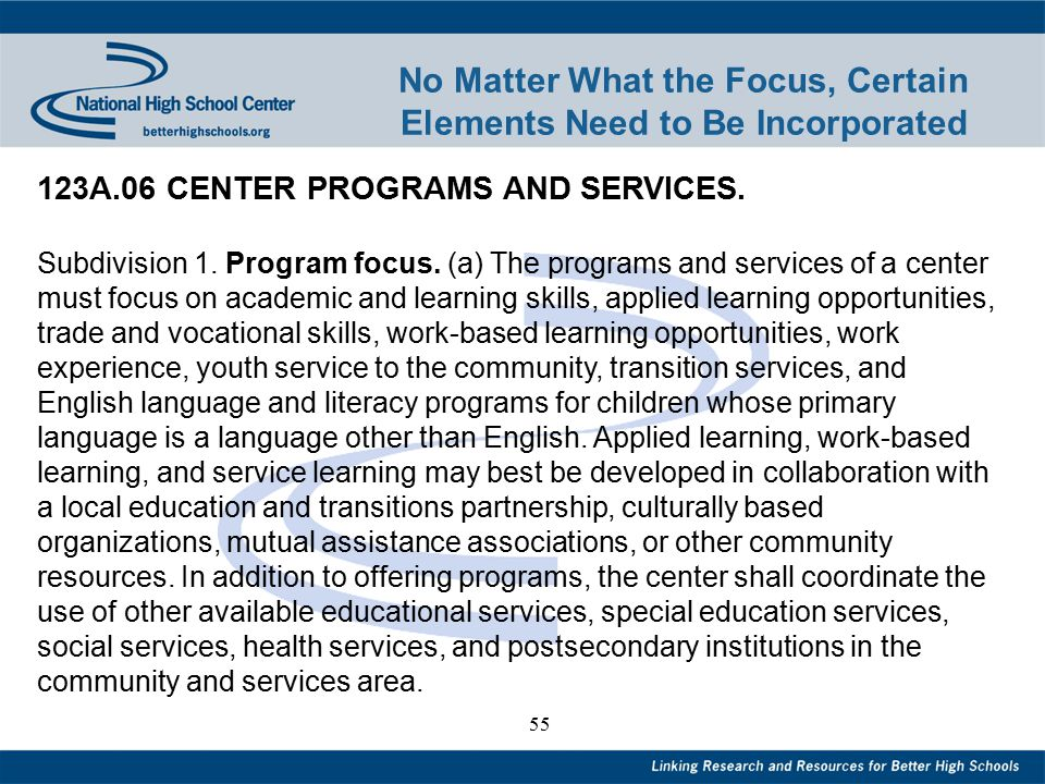 55 No Matter What the Focus, Certain Elements Need to Be Incorporated 123A.06 CENTER PROGRAMS AND SERVICES.