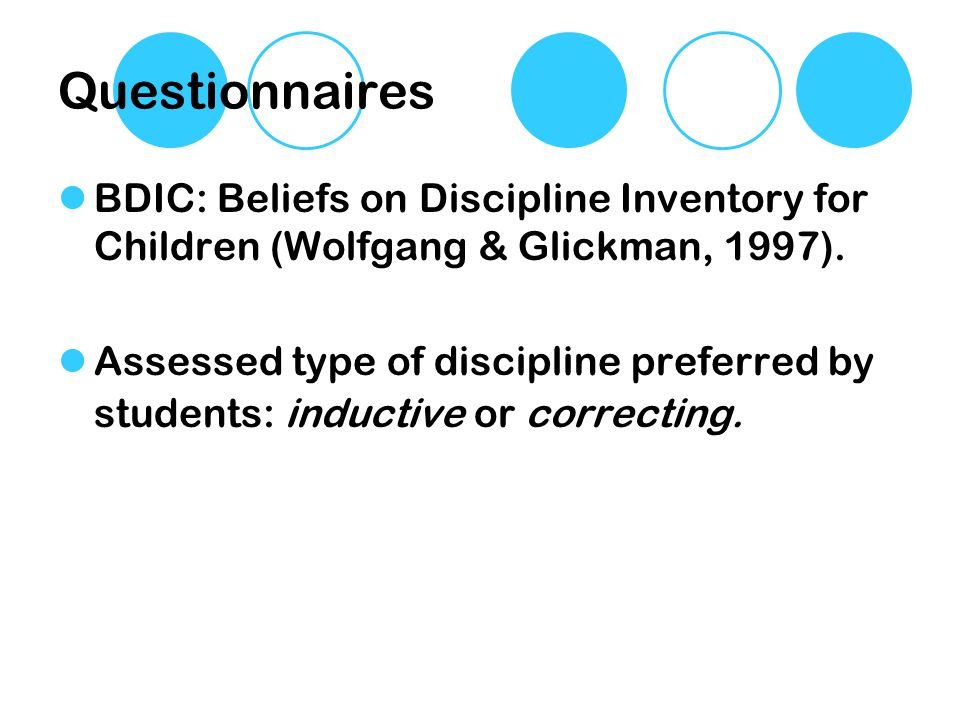 Questionnaires BDIC: Beliefs on Discipline Inventory for Children (Wolfgang & Glickman, 1997). Assessed type of discipline preferred by students: indu