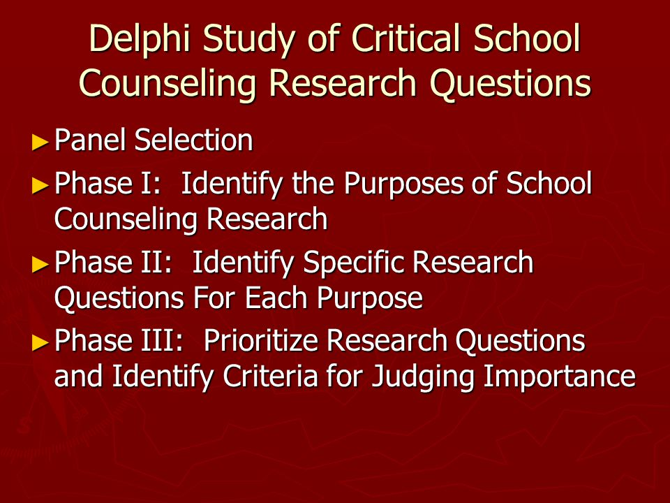 Delphi Study of Critical School Counseling Research Questions ► Panel Selection ► Phase I: Identify the Purposes of School Counseling Research ► Phase II: Identify Specific Research Questions For Each Purpose ► Phase III: Prioritize Research Questions and Identify Criteria for Judging Importance