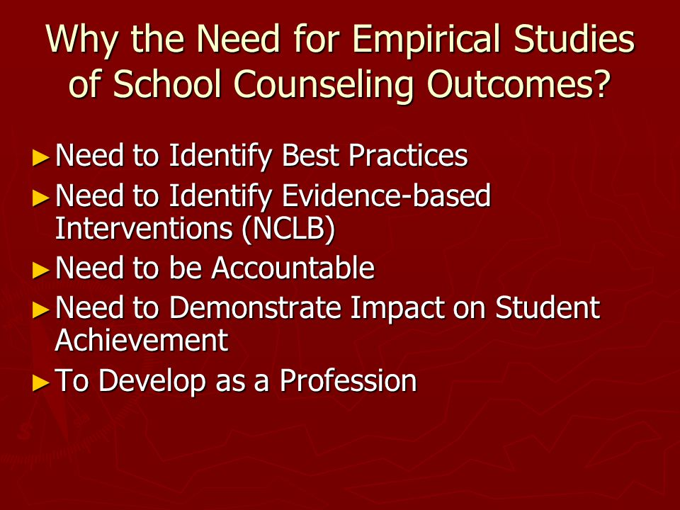 Purposes of School Counseling Research: Phase I Responses ► To document effectiveness in order to be accountable to external constituencies for school counseling activities, interventions, programs, and models.