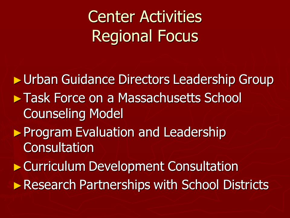 Center New Initiatives ► National Board for Evidence-Based Practice in School Counseling  Establish Criteria  Select Critical Outcomes  Evaluate Evidence  Identify Needed Research  Make Recommendations for Counselor Education