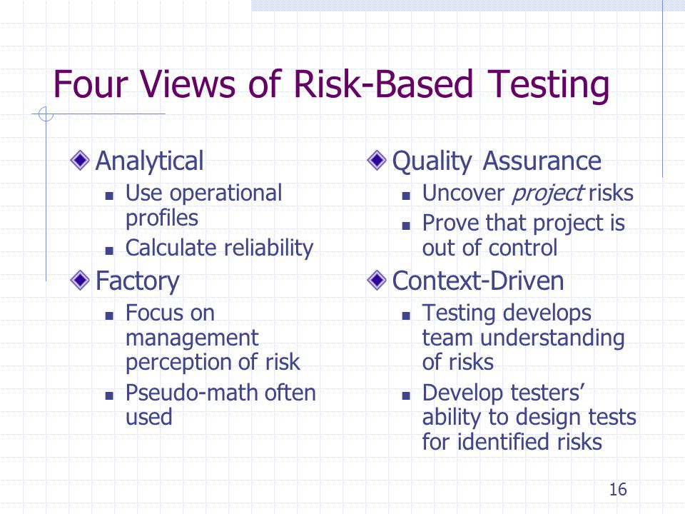 16 Four Views of Risk-Based Testing Analytical Use operational profiles Calculate reliability Factory Focus on management perception of risk Pseudo-math often used Quality Assurance Uncover project risks Prove that project is out of control Context-Driven Testing develops team understanding of risks Develop testers' ability to design tests for identified risks