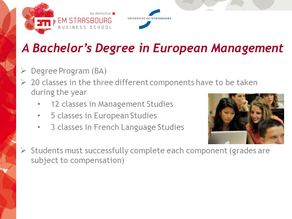 A Bachelor's Degree in European Management  Degree Program (BA)  20 classes in the three different components have to be taken during the year 12 classes in Management Studies 5 classes in European Studies 3 classes in French Language Studies  Students must successfully complete each component (grades are subject to compensation)