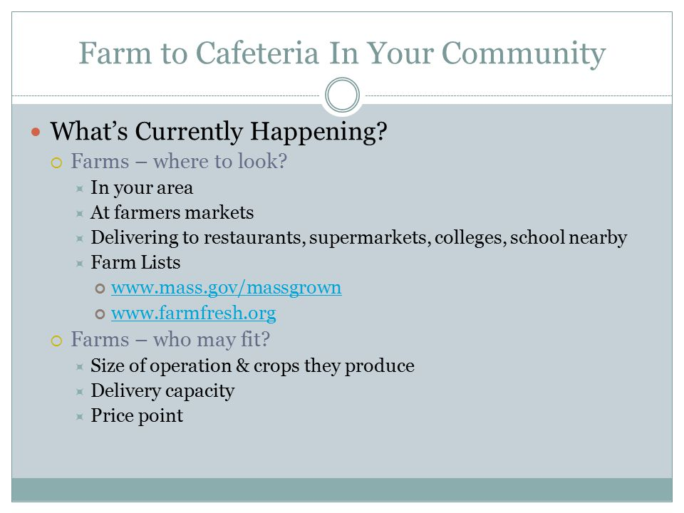 Farm to Cafeteria In Your Community What's Currently Happening.