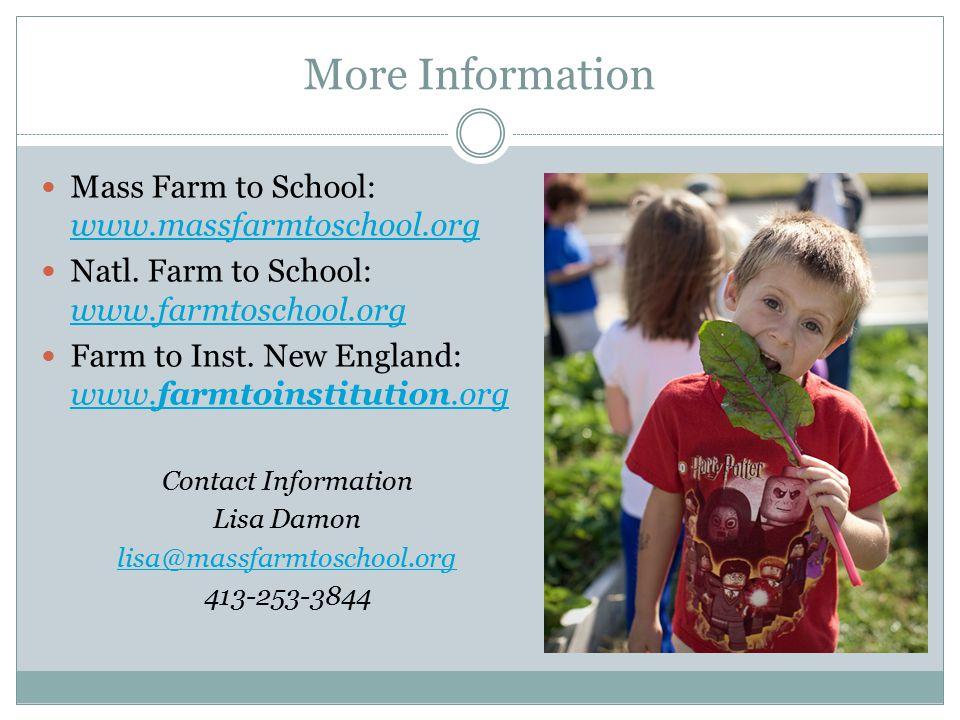 More Information Mass Farm to School: www.massfarmtoschool.org www.massfarmtoschool.org Natl.
