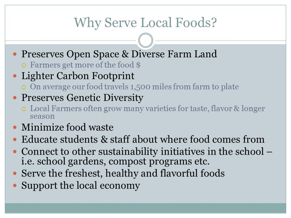 Why Serve Local Foods.