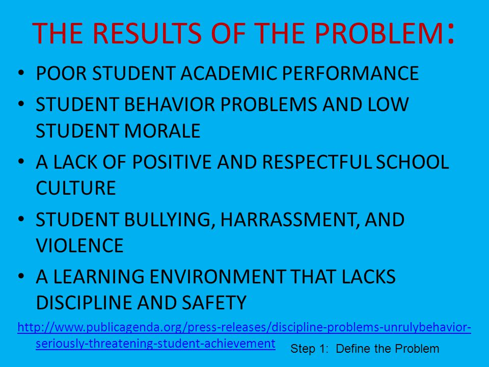 THE RESULTS OF THE PROBLEM : POOR STUDENT ACADEMIC PERFORMANCE STUDENT BEHAVIOR PROBLEMS AND LOW STUDENT MORALE A LACK OF POSITIVE AND RESPECTFUL SCHOOL CULTURE STUDENT BULLYING, HARRASSMENT, AND VIOLENCE A LEARNING ENVIRONMENT THAT LACKS DISCIPLINE AND SAFETY http://www.publicagenda.org/press-releases/discipline-problems-unrulybehavior- seriously-threatening-student-achievement Step 1: Define the Problem