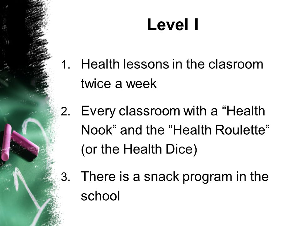 1. Health lessons in the clasroom twice a week 2.