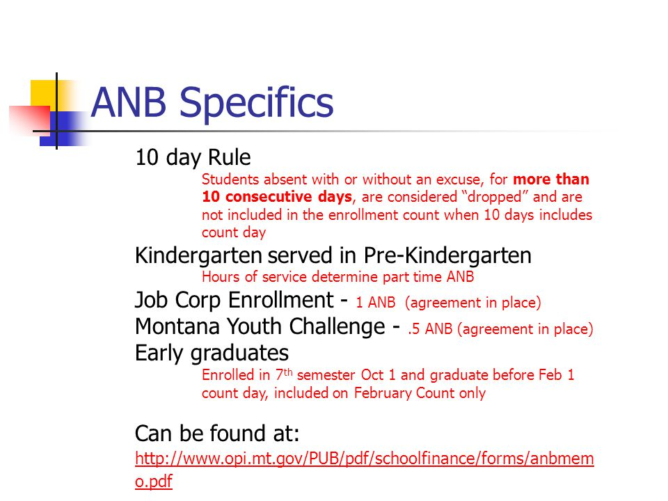 "ANB Specifics 10 day Rule Students absent with or without an excuse, for more than 10 consecutive days, are considered ""dropped"" and are not included"