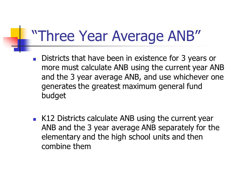 Three Year Average ANB Districts that have been in existence for 3 years or more must calculate ANB using the current year ANB and the 3 year average ANB, and use whichever one generates the greatest maximum general fund budget K12 Districts calculate ANB using the current year ANB and the 3 year average ANB separately for the elementary and the high school units and then combine them