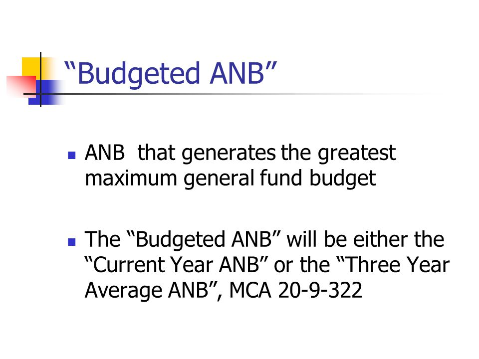 Budgeted ANB ANB that generates the greatest maximum general fund budget The Budgeted ANB will be either the Current Year ANB or the Three Year Average ANB , MCA 20-9-322