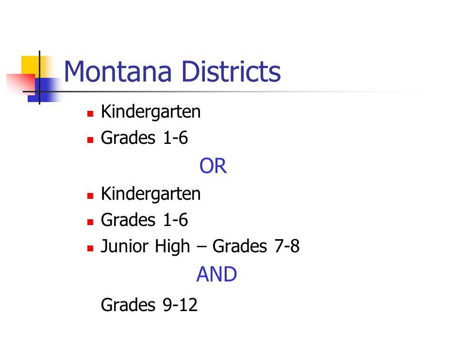 Montana Districts Kindergarten Grades 1-6 OR Kindergarten Grades 1-6 Junior High – Grades 7-8 AND Grades 9-12
