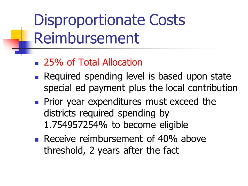 Disproportionate Costs Reimbursement 25% of Total Allocation Required spending level is based upon state special ed payment plus the local contributio