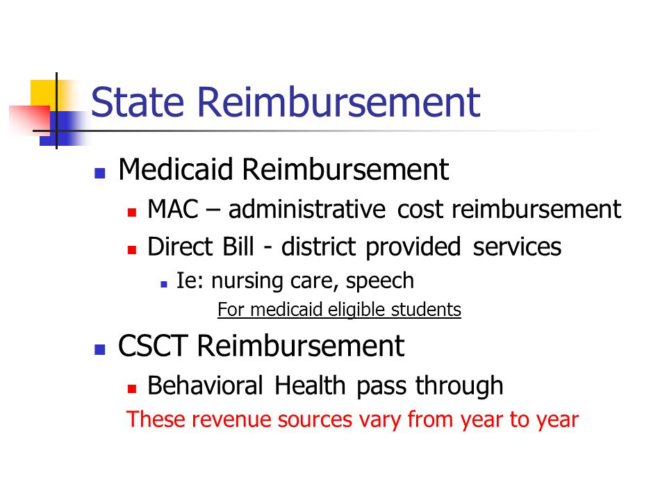 State Reimbursement Medicaid Reimbursement MAC – administrative cost reimbursement Direct Bill - district provided services Ie: nursing care, speech F