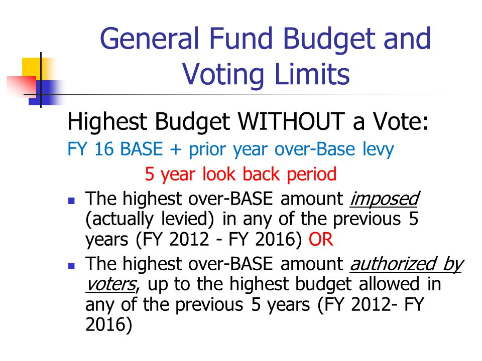 General Fund Budget and Voting Limits Highest Budget WITHOUT a Vote: FY 16 BASE + prior year over-Base levy 5 year look back period The highest over-B