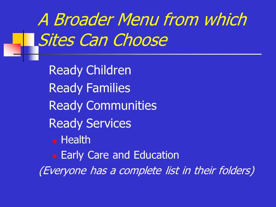 A Broader Menu from which Sites Can Choose Ready Children Ready Families Ready Communities Ready Services Health Early Care and Education (Everyone has a complete list in their folders)