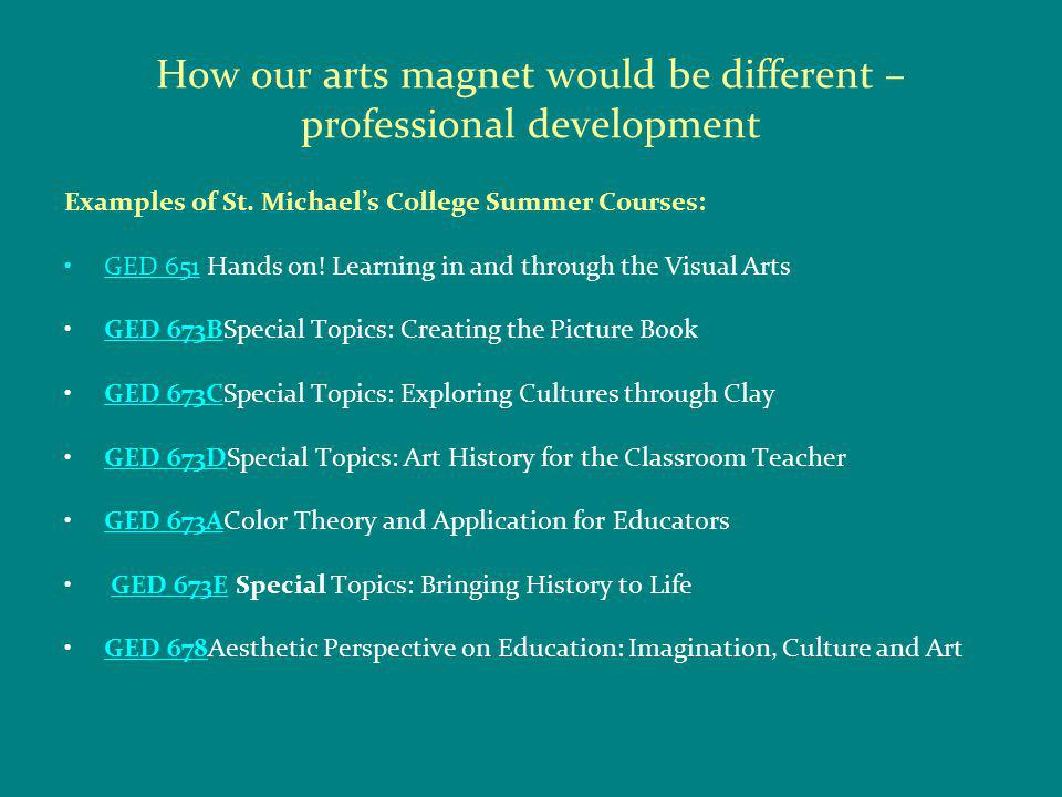 How our arts magnet would be different – professional development Examples of St.