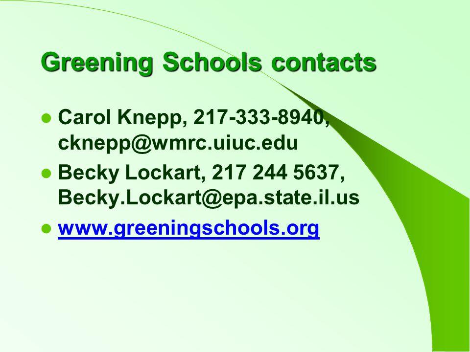 Greening Schools contacts Carol Knepp, 217-333-8940, cknepp@wmrc.uiuc.edu Becky Lockart, 217 244 5637, Becky.Lockart@epa.state.il.us www.greeningschools.org
