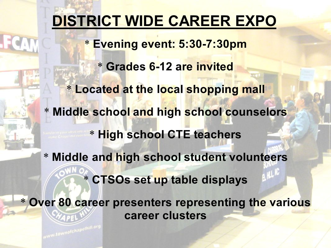 * Evening event: 5:30-7:30pm * Grades 6-12 are invited * Located at the local shopping mall * Middle school and high school counselors * High school C