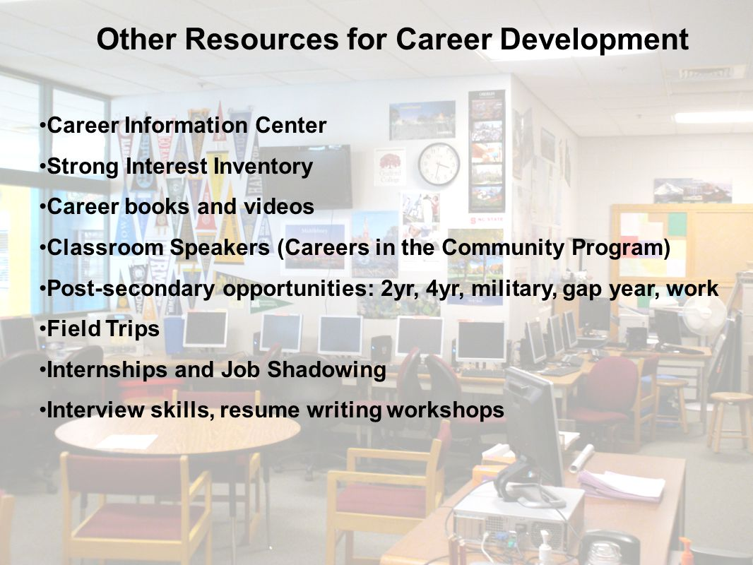 Other Resources for Career Development Career Information Center Strong Interest Inventory Career books and videos Classroom Speakers (Careers in the