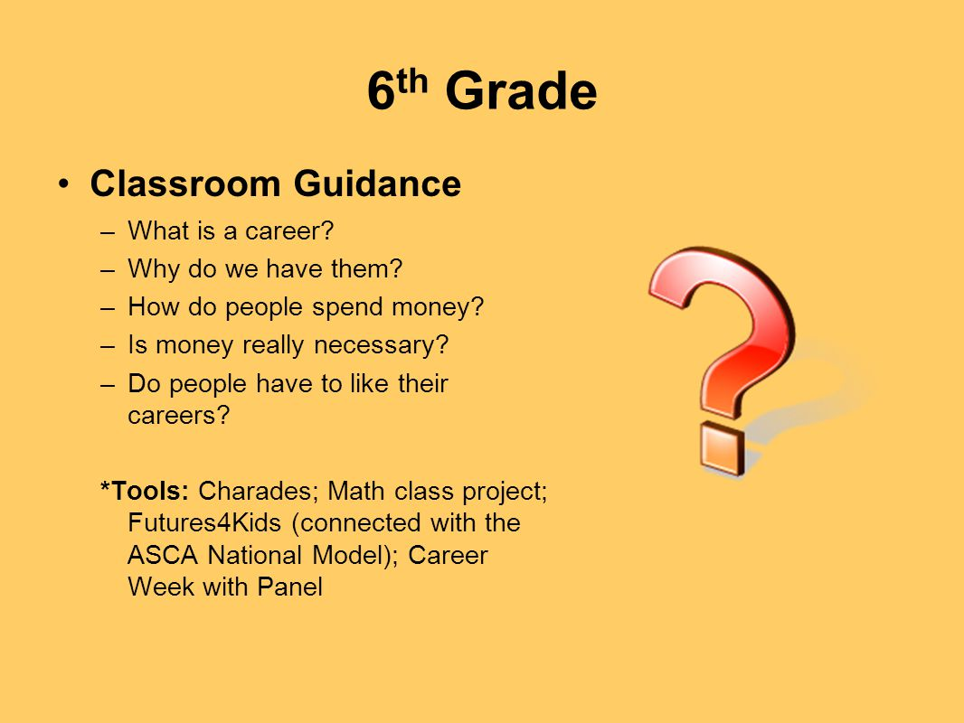 6 th Grade Classroom Guidance –What is a career? –Why do we have them? –How do people spend money? –Is money really necessary? –Do people have to like