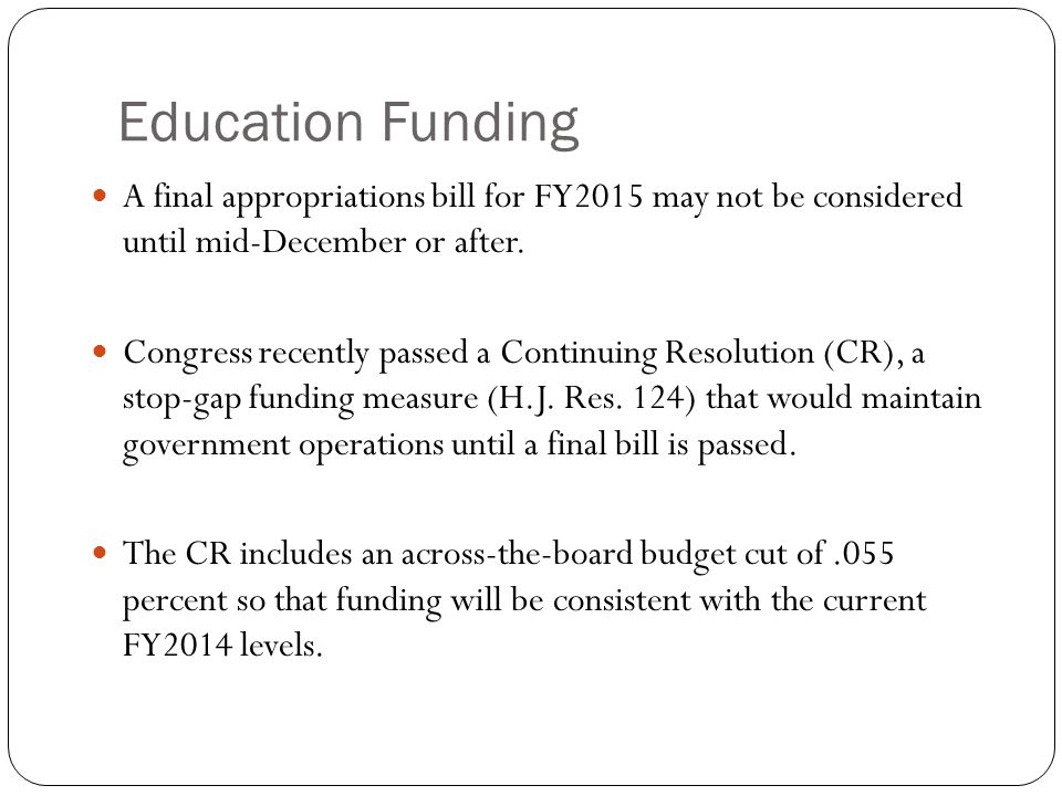 Education Funding Key concerns include sustaining investments in Title I grants for disadvantaged students and in the Individuals With Disabilities Education Act (IDEA).