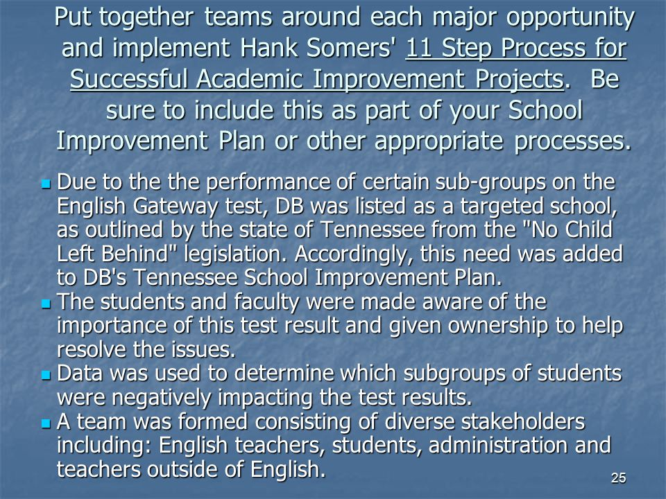 25 Put together teams around each major opportunity and implement Hank Somers' 11 Step Process for Successful Academic Improvement Projects. Be sure t