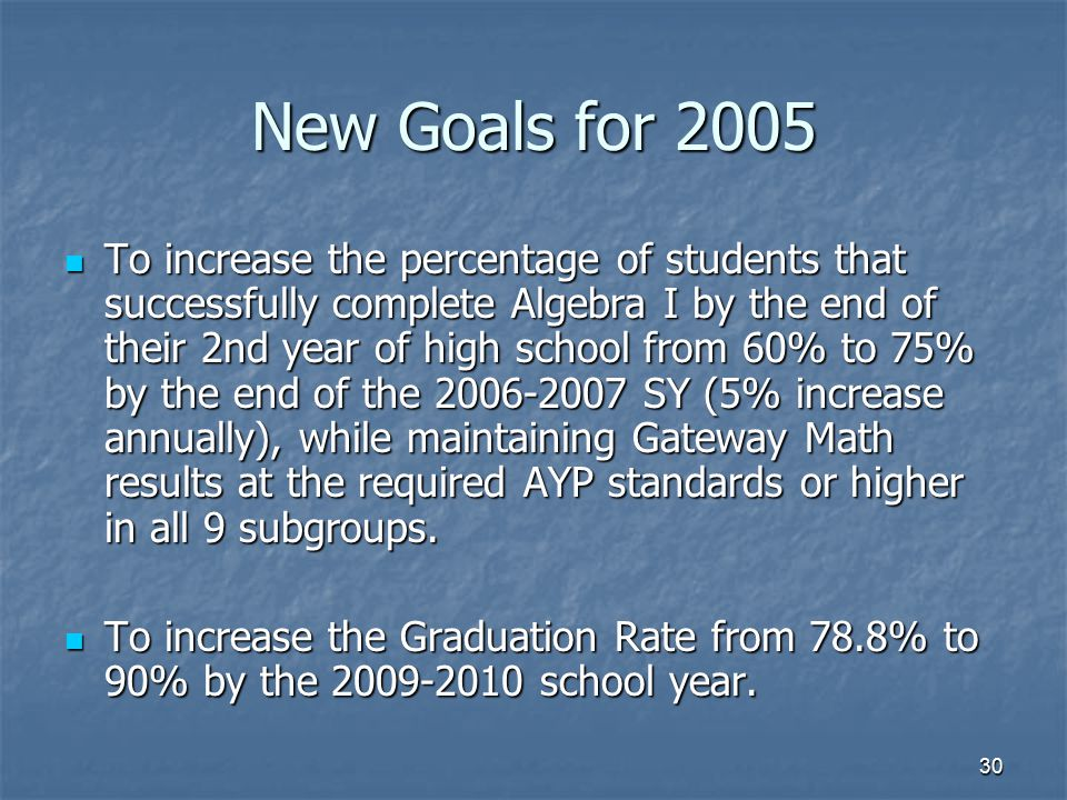 30 New Goals for 2005 To increase the percentage of students that successfully complete Algebra I by the end of their 2nd year of high school from 60%