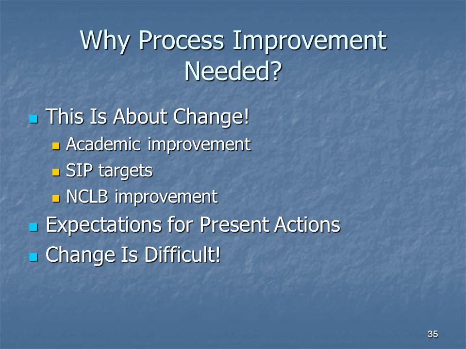 35 Why Process Improvement Needed? This Is About Change! This Is About Change! Academic improvement Academic improvement SIP targets SIP targets NCLB