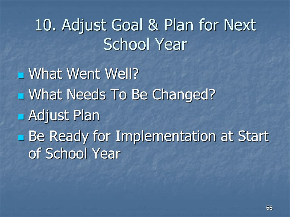 56 10. Adjust Goal & Plan for Next School Year What Went Well? What Went Well? What Needs To Be Changed? What Needs To Be Changed? Adjust Plan Adjust