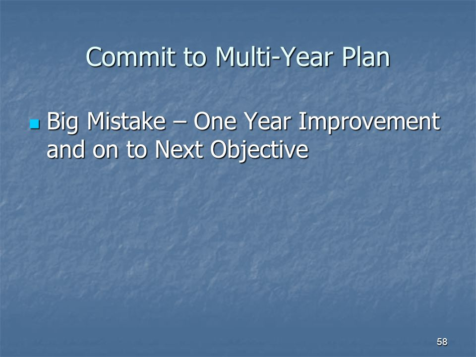 58 Commit to Multi-Year Plan Big Mistake – One Year Improvement and on to Next Objective Big Mistake – One Year Improvement and on to Next Objective